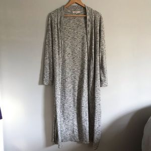 LOFT Gray Open Front Duster Cardigan